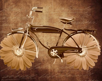 Vintage Bicycle Flowers Digital Collage Sheet Download Fabric Illustration Picture Art