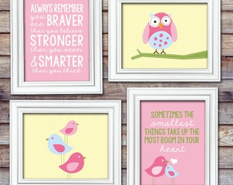 You are Braver Quote - Smallest Things Print - Pink Nursery Print Set - Hayley Bedding - Set of 4 8x10 Prints - Nursery Art - Baby Wall Art