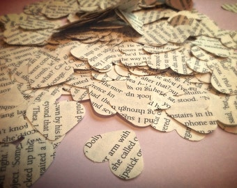Literary Wedding Confetti Vintage Rustic Heart Confetti Romantic Novels Biodegradable (1 Cup)
