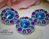 Frozen Rhinestone Flower center Buttons BLUE and PURPLE  25 mm Acrylic Rhinestone Embellishments Scrapbooking Headband Supplies 5 pcs 556035