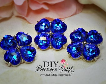 BLUE Crystal Buttons Rhinestone Buttons 23 mm Acrylic Rhinestone Embellishments Flower centers  Scrapbooking Headband Supplies 579035
