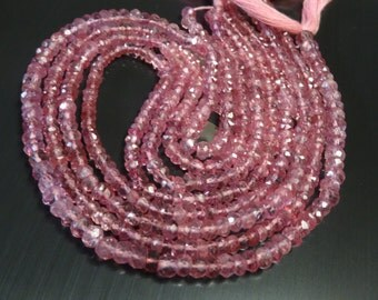 2-4 mm Mystic Pink topaz micro faceted rondelle Full 13 inch strand-AAA Quality
