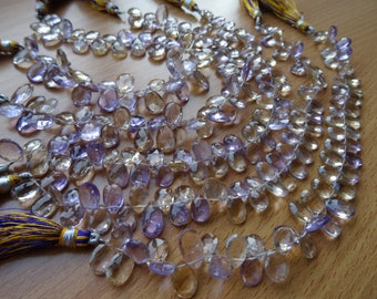 22 pcs-9 to 11 mm Natural Ametrine Briolette Faceted Pears -AAA+ Rare Quality-Half Strand Option available