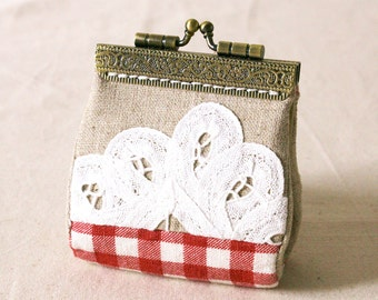 Handmade Linen with Batten Lace pattern coin purse, coin purse, ready to ship
