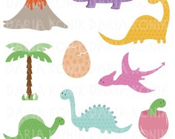 Dinosaurs Clip Art Set-dinosaur clipart, cute, dinosaur eggs, volcano, palm tree, children's clip art, eps, png, jpeg, instant download