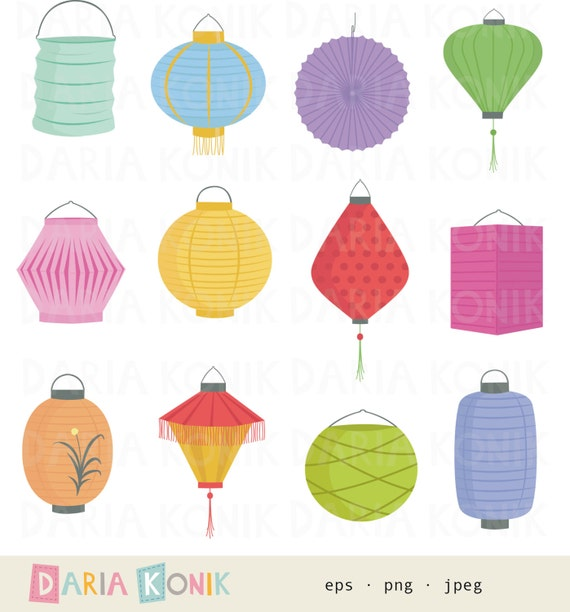 Paper Lanterns Clip Art Set-colorful lampions party clipart