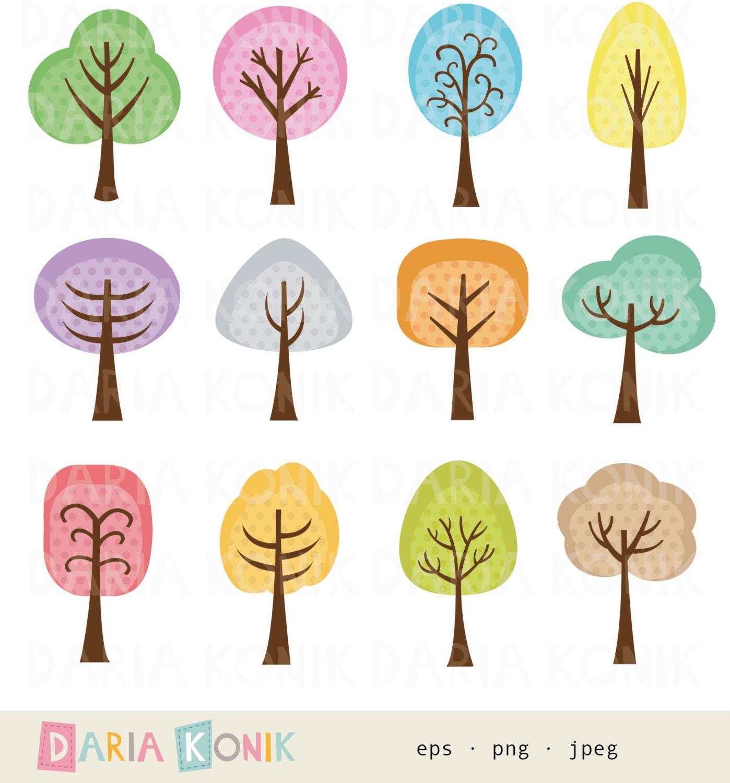 Tree Clip Art Set-trees colorful cute tree clipart digital