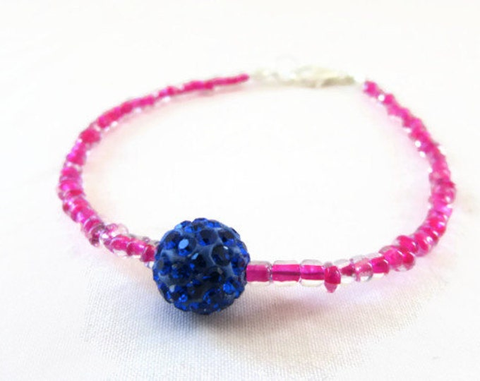 CLEARANCE Pink and blue stacking bracelet, pink seed bead bracelet, boho simple bracelet, Christmas gift for teen, handmade in the UK