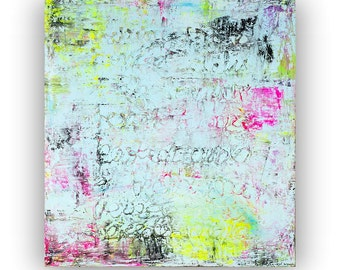 Large abstract art canvas painting baby blue neon yellow pink green black wall art big huge painting contemporary art minimalist modern art