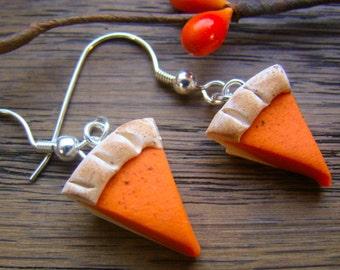 Pumpkin Pie earrings - Pumpkin earrings -  Fall Earrings - Autumn Earrings - Thanksgiving earrings - miniature food earrings - mini pie