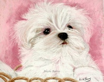 Maltese Dog Puppy Painting, PRINT, Animal Art Print, Wall Art, Gift for Dog Lovers. FREE Shipping