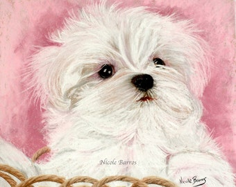 Maltese Dog, Maltese Puppy, Maltese Painting, PRINT, Animal Art Print, Wall Art, Gift for Dog Lovers, Puppy lovers, Dog Lovers, FREE Shippin