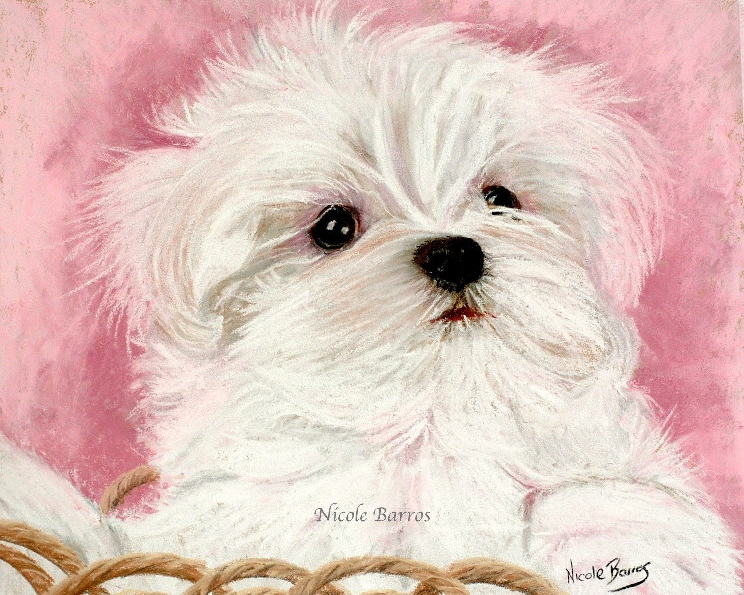 maltese painting maltese dog maltese puppy maltese painting print animal 5512