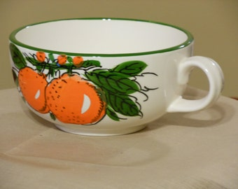 Large Hand Painted Japan Orange and Green Cup