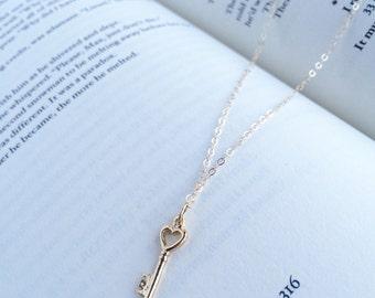 Key To My Heart • Tiny gold key charm necklace // gold key pendant