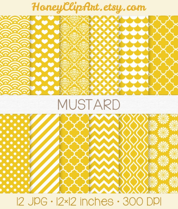 mustard digital paper white and yellow chevron by honeyclipart