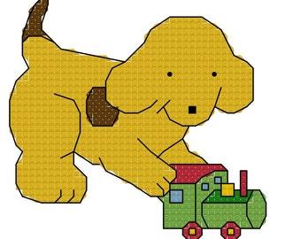 Spot the Dog with Train Cross Stitch Pattern