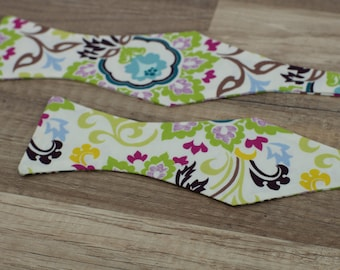 Handmade bow tie floral self tie freestyle classic pattern colorful cotton bowtie