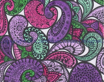 Brightly Coloured Paisley Pattern in Purples, Greens and Magenta. Unframed. A4 size
