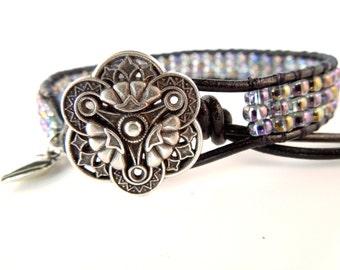 Leather 3 Row Single Wrap Bracelet,  Leather Beaded Bracelet, Leather Wrap Bracelet, Seed Bead Bracelet