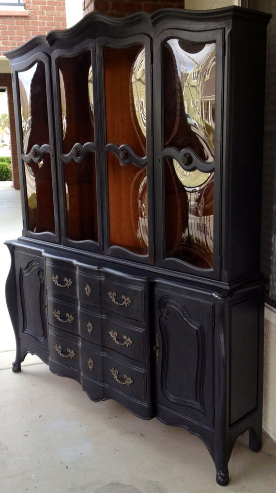 Black Wood Buffet Cabinet ~ Vintage french provincial buffet and hutch china cabinet