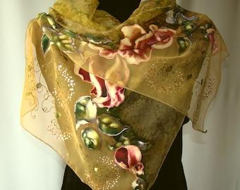 Natural silk shawl - floral, khaki hand painted scarf, rose