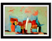 Mid Century painting Modern GICLEE PRINT modernist wall decor Coral Cyan Red ABSTRACT Expressionism Print/ Gift