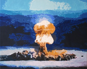 Atomic explosion print with blue gold mountains - LIMITED EDITION of 9
