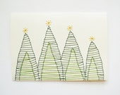 SET OF 3 Hand Stitched Christmas Tree Note Cards