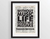 Without Music Life Would Be A Mistake - Friedrich Nietzsche Philosophy - Recycled Vintage Dictionary Art Print