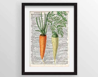 Carrots - Botanical Reprint on Recycled Dictionary Page