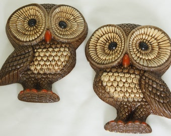 Vintage Owl Wall Hangings Home Decor 2 pc