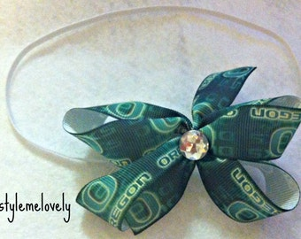Oregon Ducks Baby Girl Boutique Bow Elastic Headband