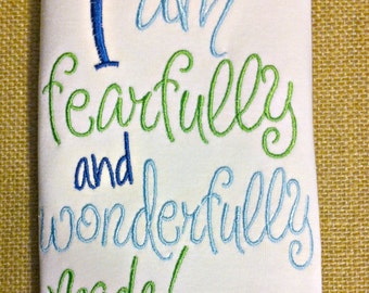 I am fearfully and wonderfully made Baby boy shirt, Bible verse shirt, Baby boy shirt