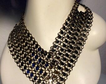 FREE  SHIPPING    1970 Siver Bib Necklace
