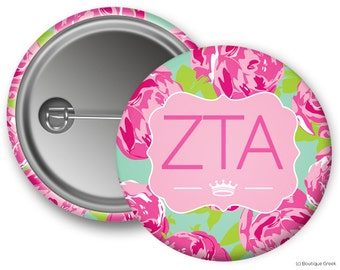 ZTA Zeta Tau Alpha Floral Sorority Greek Button