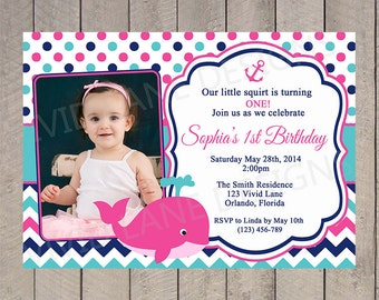 Whale Girl First Birthday Invitation, Pink, Teal and Navy Birthday Invite, with Photo, Chevron, Navy and Hot Pink 1st, 2nd, 3rd, 4th - 5108