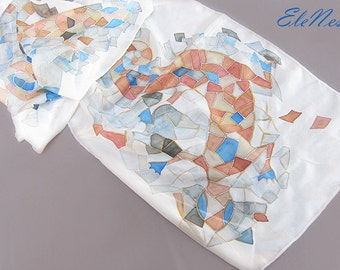 Handpainted silk scarf with mosaic pattern - Silk accessory - Hand painted silk shawl with antique mosaic lizard - Animals and Birds Design