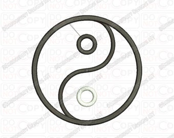 Yin Yang Chinese Symbol Applique Embroidery Design in 2x2 3x3 4x4 and 5x7 Sizes