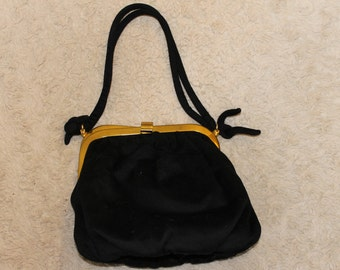 SALE:  Vintage Authentic Antelle Purse, Authentic, Silk and Cashmere, Black, Brass Frame and Fittings, Soft and a Nice Touch at an event