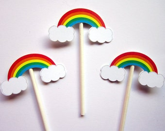 Rainbow Cupcake Toppers, Rainbow Baby Shower, Rainbow Birthday, Cupcake Toppers