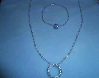 Silver and Diamond Necklace and Bracelet Set