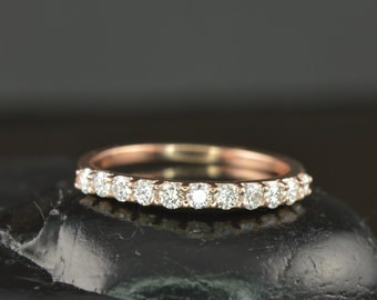 Patricia - Diamond Wedding Band in Rose Gold, Round Brilliant Cut, Shared Prong, Classic Design, Free Shipping