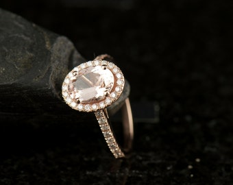 Morganite Engagement Ring in Rose Gold, 1.50ct Oval Cut Morganite Solitaire in a Shared Prong Set Diamond Halo, Fit Flush Design, Maria