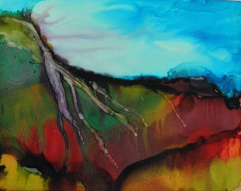 Abstract landscape ink painting original 5x7 on yupo alcohol art # 156