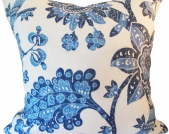 Blue Floral Vintage Waverly Decorative Pillow Cover - Throw Pillow - Toss Pillow - Both Sides - ALL SIZES AVAILABLE