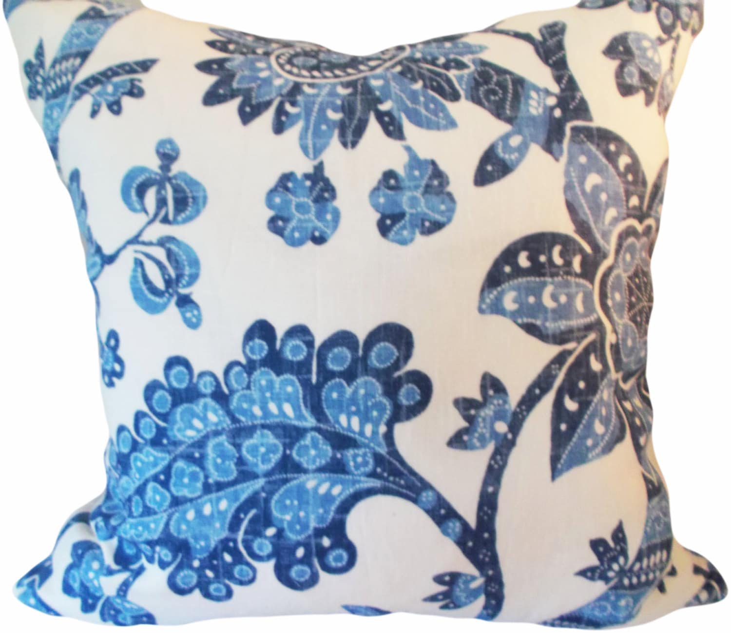 Waverly Decorative Throw Pillows : Blue Floral Vintage Waverly Decorative Pillow Cover Throw