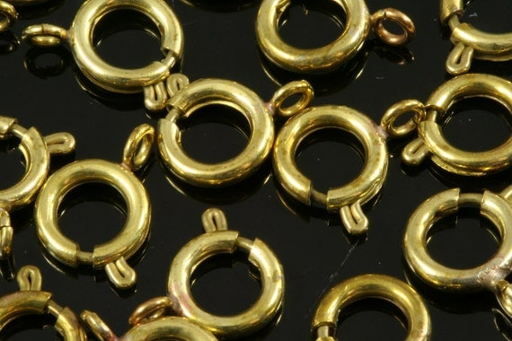 Spring clasps 100 pcs 6 mm raw brass solid brass round ring circle zipper clasps  CL6