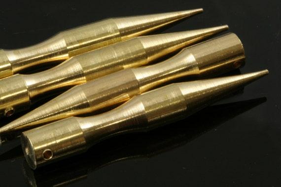 "3 pcs raw brass long spike 7x50 mm 9/32"" x 2"" finding spacer industrial design (2 mm 0.080"" 12 gauge hole ) pendulum R1137"