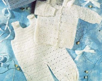 crochet dungarees and hooded coat set  vintage baby crochet pattern PDF